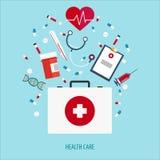 Płaska ilustracja pomoc medyczna pomóż najpierw Online lekarka Kierowa opieka Apteka, medicaments i szczepionki, Opieka zdrowotna Fotografia Stock