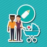 Płaska ilustracja rodzinny projekt, ludzie ikon Obrazy Stock