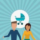 Płaska ilustracja rodzinny projekt, ludzie ikon Obraz Stock