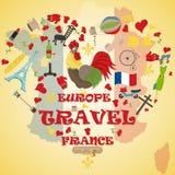 Płaska ilustracja travel_3_to Europa Francja, symbole i przyciąga ilustracja wektor