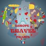 Płaska ilustracja travel_2_to Europa Francja, symbole i przyciąga ilustracja wektor