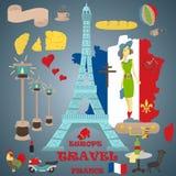 Płaska ilustracja travel_1_to Europa Francja, symbole i przyciąga royalty ilustracja