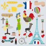 Płaska ilustracyjna podróż Europa Francja, symbole i attractio, royalty ilustracja