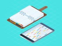 Płaska isometric ilustracja papierowe i elektroniczne osobiste śliwki Obraz Stock