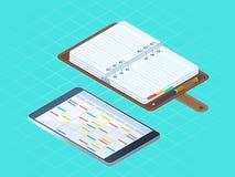 Płaska isometric ilustracja papierowy i elektroniczny ogłoszenia towarzyskiego dia Fotografia Stock