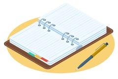 Płaska isometric ilustracja rozpieczętowany osobisty planista Biznes Fotografia Stock