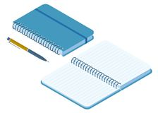 Płaska isometric ilustracja zamknięty i rozpieczętowany papierowy notatnik Fotografia Stock