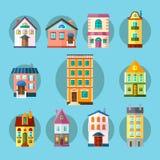 Płaska kolekcja miasta i miasteczka budynki ilustracja wektor