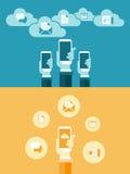 Płaska komunikacja mobilna na ręce Obraz Royalty Free