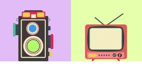 Płaska kreskówki animacja stary retro multimedialny telekomunikacyjny technologii ikony projekta inkasowy ustawiający w pastelowy royalty ilustracja
