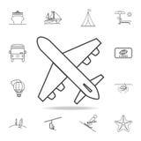 Płaska kreskowa ikona Set turystyki i czasu wolnego ikony Znaki, kontur meblarska kolekcja, prosta cienieją kreskowe ikony dla st ilustracji
