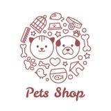 Płaska kreskowego stylu zwierząt domowych sklepu ilustracja w postaci okręgu Dla zwierzę domowe sklepu lub weterynaryjnego loga p Fotografia Stock