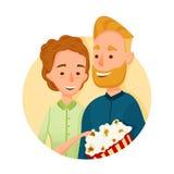 Płaska para Ludzie w kinie Z popkornem również zwrócić corel ilustracji wektora w miłości w trzymać wpólnie Obrazy Royalty Free