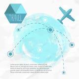 płaska podróży Samolot na jego miejsce przeznaczenia trasach ilustracja wektor