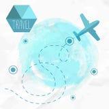 płaska podróży Samolot na jego miejsce przeznaczenia trasie royalty ilustracja