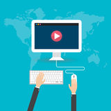 Płaska projektów pojęć online wideo płaska ilustracja Zdjęcia Stock