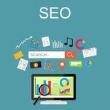 Płaska projekt ilustracja dla SEO pojęcia, wyszukiwarka, internet zawartość Fotografia Stock