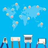 Płaska projekt ilustracja, Internetowy zakupy, handel elektroniczny ogólnospołeczne medialne sieci i komunikacyjny pojęcie ilustracja wektor