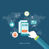 Płaska projekt ilustracja z ikonami mobilny zakupy Zdjęcie Royalty Free