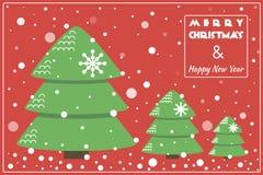 Płaska projekt kartka bożonarodzeniowa, tło z drzewem/ Zdjęcie Royalty Free