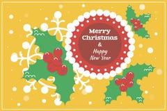 Płaska projekt kartka bożonarodzeniowa, tło z holly/ Obraz Stock