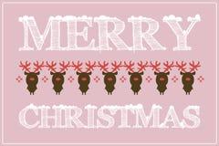Płaska projekt kartka bożonarodzeniowa, tło z rogaczem/ Zdjęcia Stock