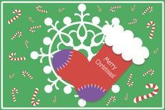 Płaska projekt kartka bożonarodzeniowa, tło z zapasem/ Fotografia Stock