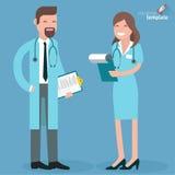Płaska projekt lekarka, pielęgniarka i Zdjęcie Royalty Free