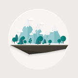 Płaska projekt natury krajobrazu ilustracja, Zdjęcie Royalty Free