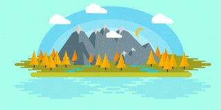Płaska projekt natury krajobrazu ilustracja z słońcem, wzgórzami i chmurami, Obraz Royalty Free