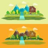 Płaska projekt natury krajobrazu ilustracja z słońcem, wzgórzami i chmurami, Zdjęcie Stock