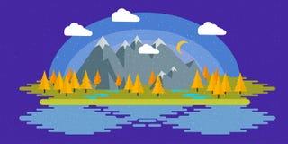 Płaska projekt natury krajobrazu ilustracja z słońcem, wzgórzami i chmurami, Zdjęcia Stock