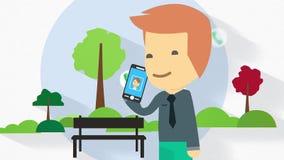 Płaska projekta charakteru ilustracja na pełnym długość kostiumu odziewał biznesowego mężczyzna z mądrze telefonem ilustracji