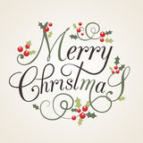 Płaska projekta stylu kartka bożonarodzeniowa z holly jagodami i liśćmi Zdjęcie Royalty Free