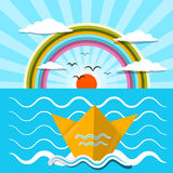 Płaska projekta wektoru papieru łódź i ocean ilustracji