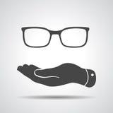 Płaska ręka reprezentuje szkło ikonę Zdjęcie Stock