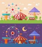 Płaska Retro Funfair sceneria z rozrywkowymi przyciąganiami ilustracja wektor