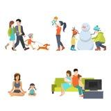 Płaska rodzina ilustracja wektor
