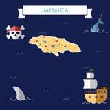 Płaska skarb mapa Jamajka royalty ilustracja