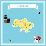 Płaska skarb mapa Ukraina ilustracja wektor