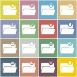 Płaska skoroszytowa ikona ustawiająca z koloru tłem Obraz Stock