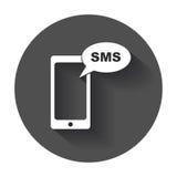 Płaska smartphone ikona Sms wiadomość royalty ilustracja