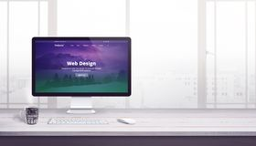 Płaska strona internetowa na komputerowym pokazie Sieć projekta firmy pojęcie ilustracja wektor