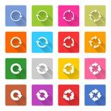 Płaska strzała przeładowywa ikony sieci kwadratowego guzika Fotografia Stock