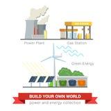 Płaska wektorowa elektrownia, benzynowa napełnianie stacja, eco słońca energetyczny wiatr Fotografia Stock