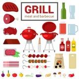 Płaska wektorowa ikona grilla grilla BBQ mięsny gotować plenerowy Zdjęcie Royalty Free