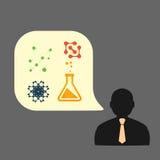 Płaska wektorowa ikona mężczyzna substancja chemiczna eksperymentuje eps ilustracja wektor