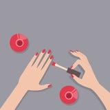 Płaska wektorowa ilustracja żeński manicure Zdjęcia Stock