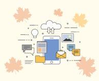 Płaska wektorowa ilustracja chmura dla smartphones Wszystko w twój przyrządzie w obłocznym magazynie lub obraz royalty free
