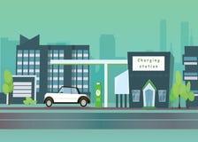 Płaska wektorowa ilustracja zielony elektryczny samochód ładuje przy ładowarki stacją Electromobility Fotografia Stock
